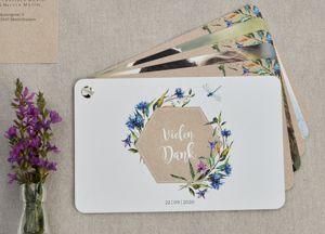 florale Danksagung zur Hochzeit als Kartenfaecher Franzisca und Marvin - carinokarten