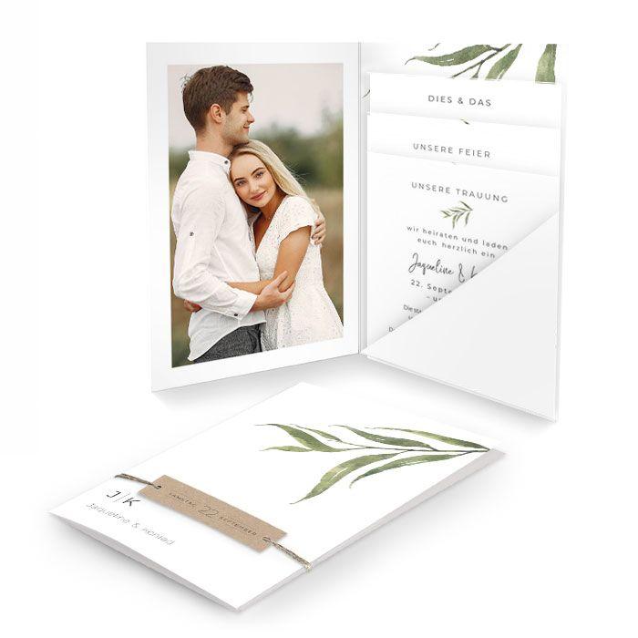 Greenery Hochzeitseinladung mit Olivenzweig im Aquarellstil