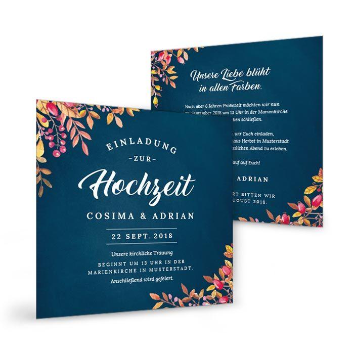 Einladung zur Herbst Hochzeit in Dunkelblau mit Blättern in Rot und Gelb - carinokarten