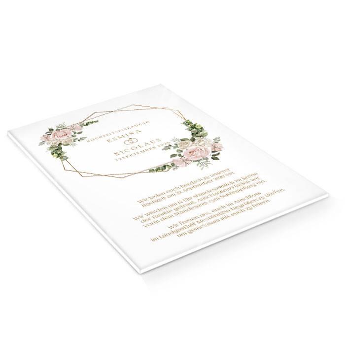 Romantische Acryl Hochzeitseinladung mit Rosen und geometrischem Rahmen
