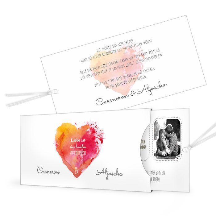 Ausgefallene Einladung zur Hochzeit mit Watercolor Herz in Orange und Rot - carinokarten