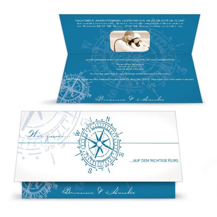 Maritime Einladung zur Hochzeit in Dunkelblau mit antikem Kompass - carinokarten