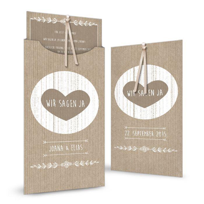 Moderne Hochzeitseinladung als Einsteckkarte im Packpapier-Design - carinokarten