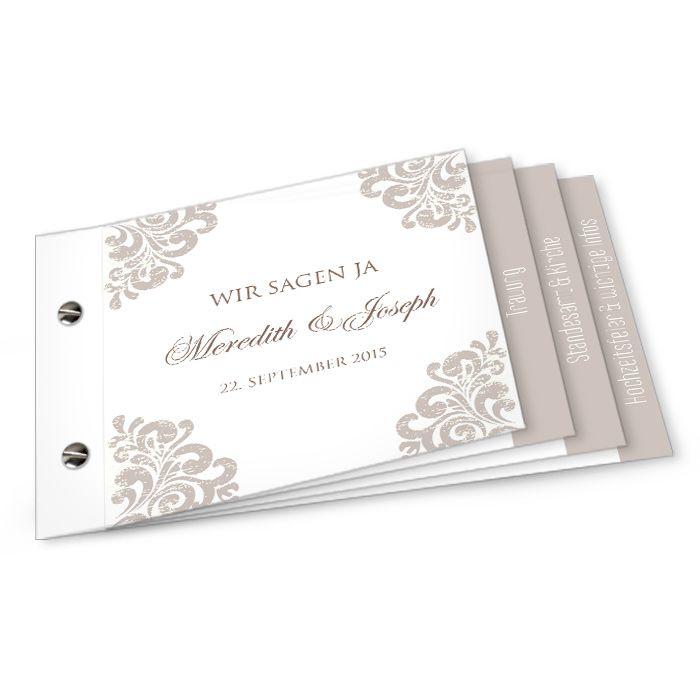 Elegante Einladung zur Hochzeit mit barocken Ornamenten in Taupe - carinokarten