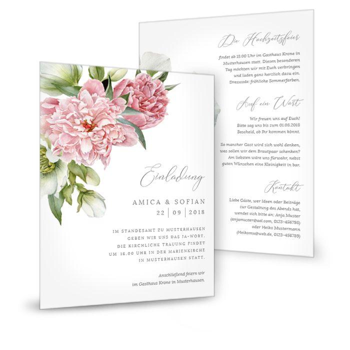 Romantische Einaldung zur Hochzeit mit großen rosa Pfingstrosen - carinokarten