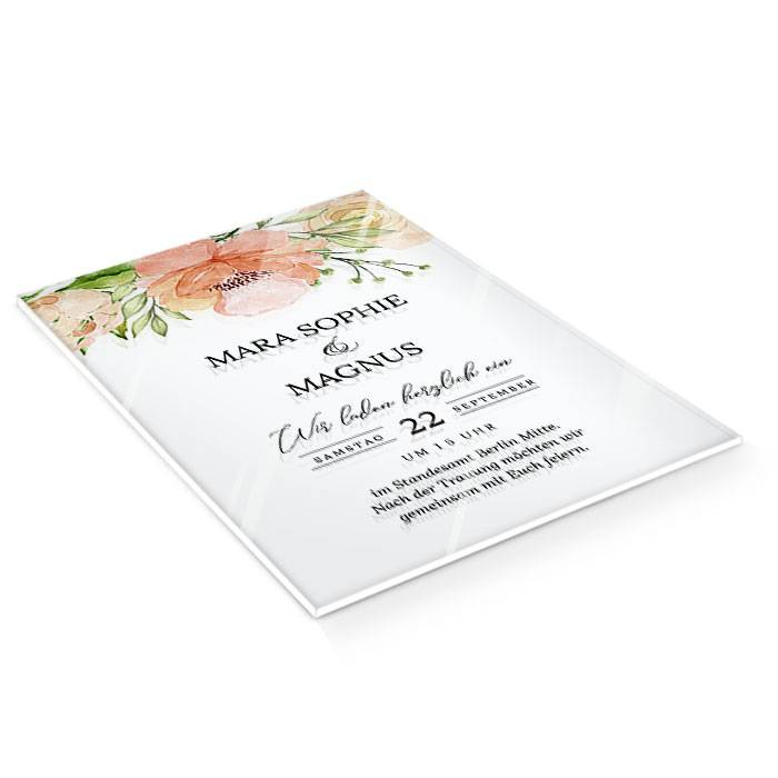 Acryl Hochzeitseinladung mit Aquarellblumen und Kalligraphie