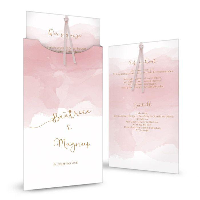 Romantische Einladung zur Hochzeit mit rosa Watercolor Stil und goldener Kalligrafie Schrift - carinokarten