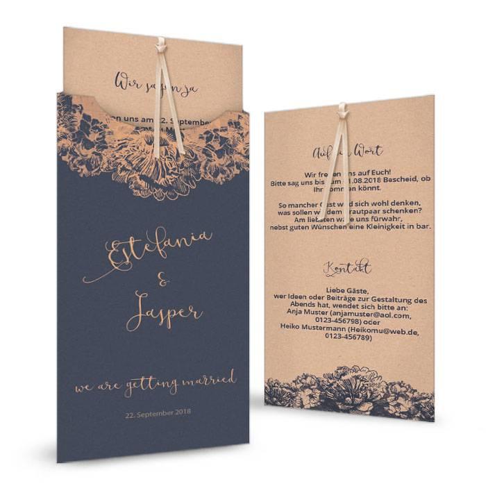 Florale Hochzeitseinladung mit Rosen in Kupferfolien Veredelung