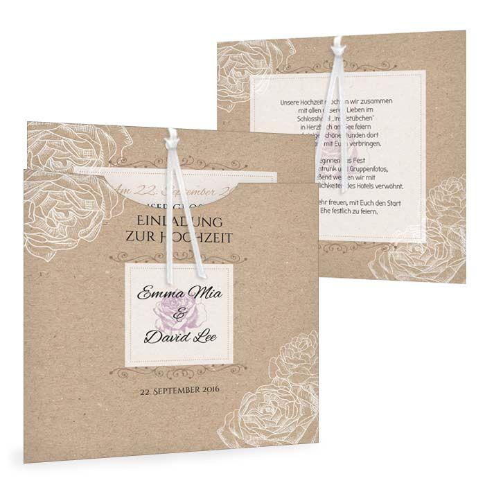 Vintage Hochzeitseinladung mit romantischen Blumen als Einsteckkarte - carinokarten