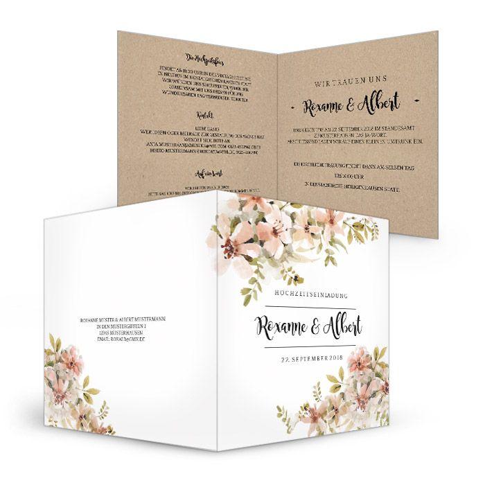 Hochzeitseinladung im Vintage Stil mit Kraftpapier-Optik und zarten Blüten - carinokarten