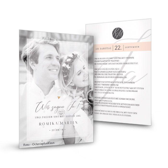 Moderne Hochzeitseinladung in Rosa mit großem Foto und Monogramm - carinokarten