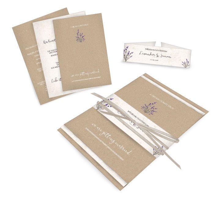 Rustikale Einladung zur Vintage Hochzeit in Kraftpapier Optik mit Lavendel - carinokarten
