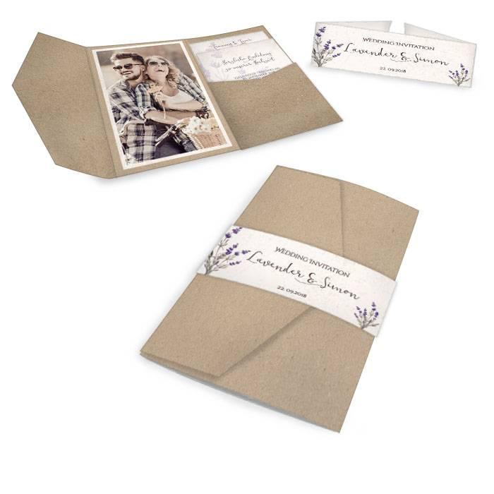 Vintage Hochzeitseinladung in Kraftpapieroptik und Lavendeldesign