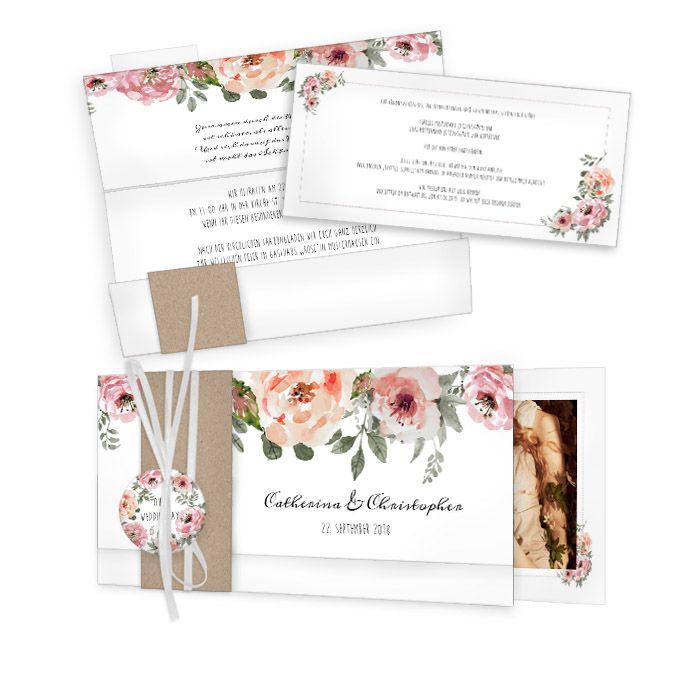 Romantische Einladung zur Vintage Hochzeit mit Rosen im Aquarell Stil - carinokarten