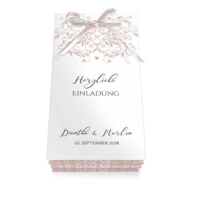 Elegante Hochzeitseinladung mit rosa Ornamenten als Booklet mit Schleifchen - carinokarten