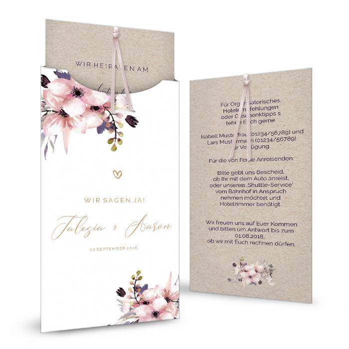 Vintage Hochzeitseinladung mit Blumen im Aquarell Stil und Kraftpapieroptik