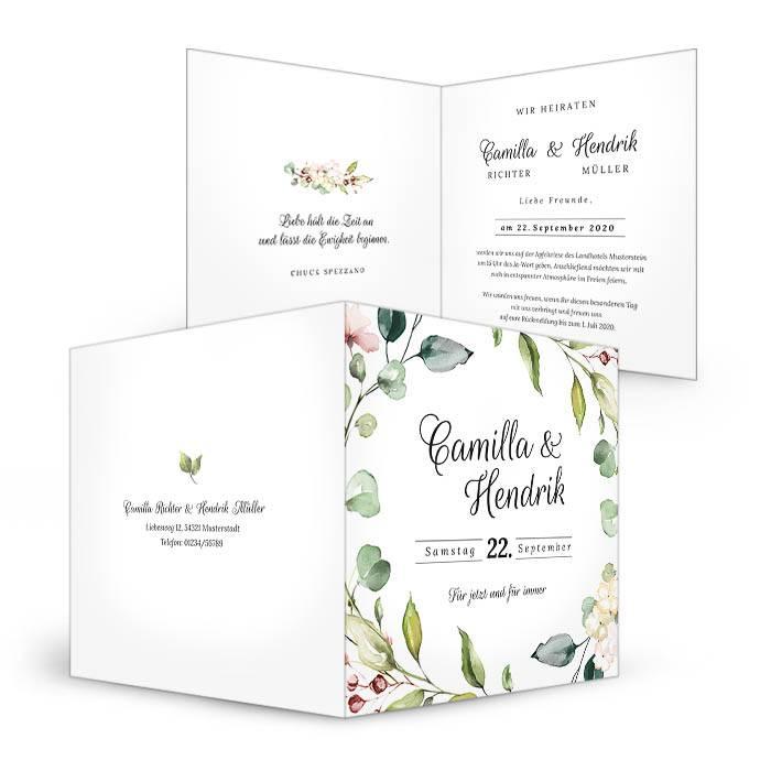 Greenery Hochzeitseinladung mit Blätterkranz in Aquarelloptik - carinokarten