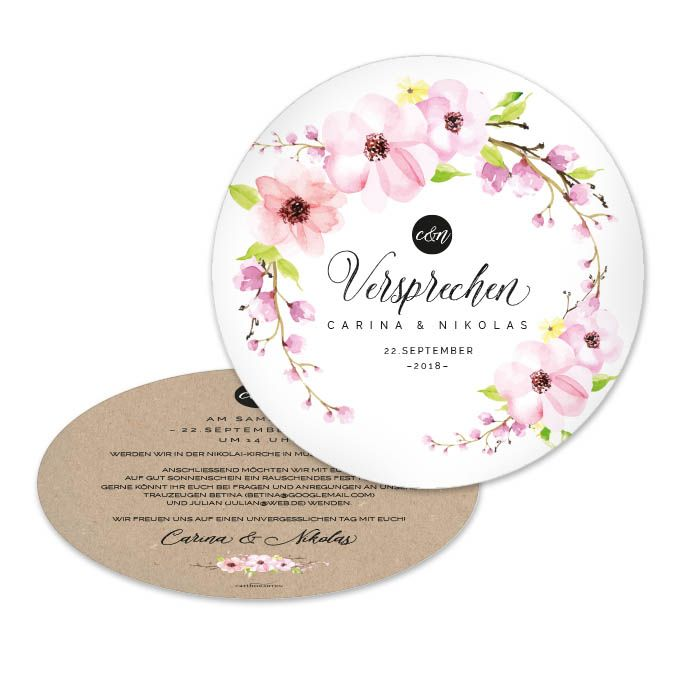 Vintage Einladung zur Hochzeit mit Kraftpapieroptik und zarten Blüten als runde Karte - carinokarten