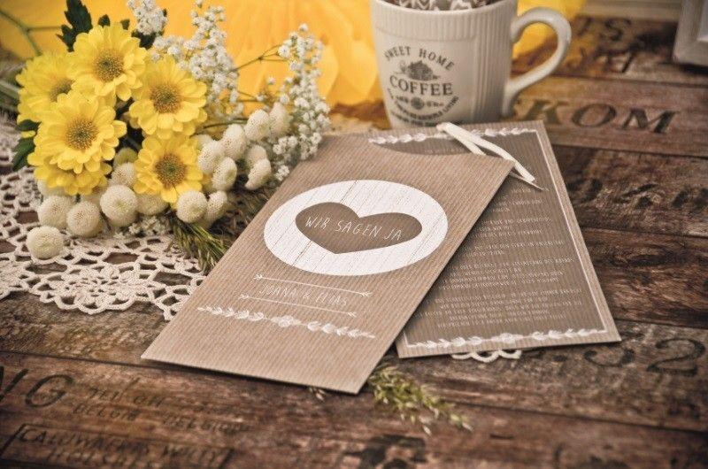 Rustikale Einladung zur Sommerhochzeit im Packpapierstil Joana und Elias - carinokarten
