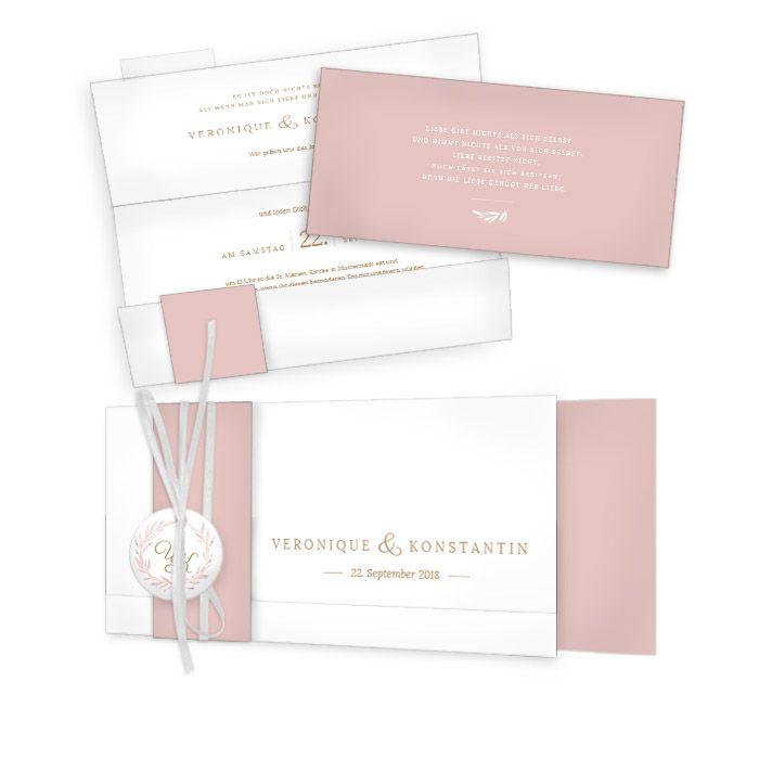 Edle Hochzeitseinaldung in Rosa mit Blätterkranz und Monogramm - carinokarten
