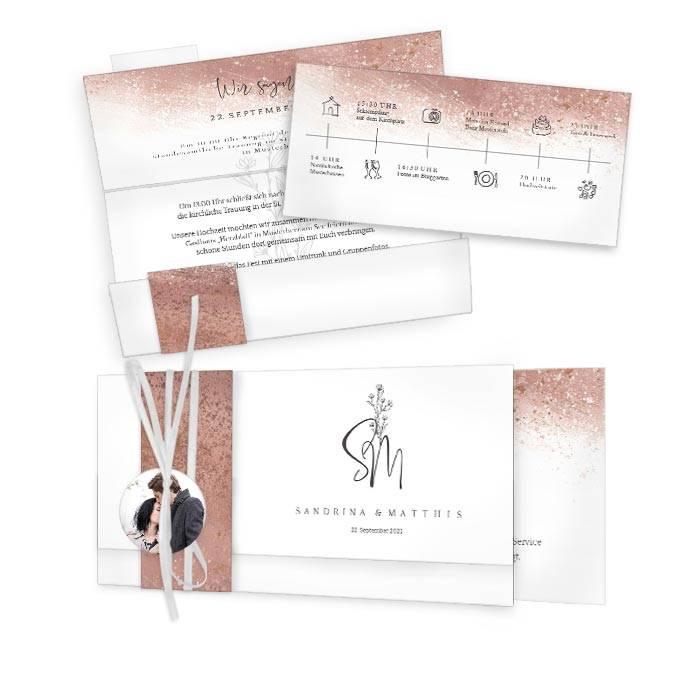 Moderne Hochzeitseinladung in Roségold mit modernem Monogramm