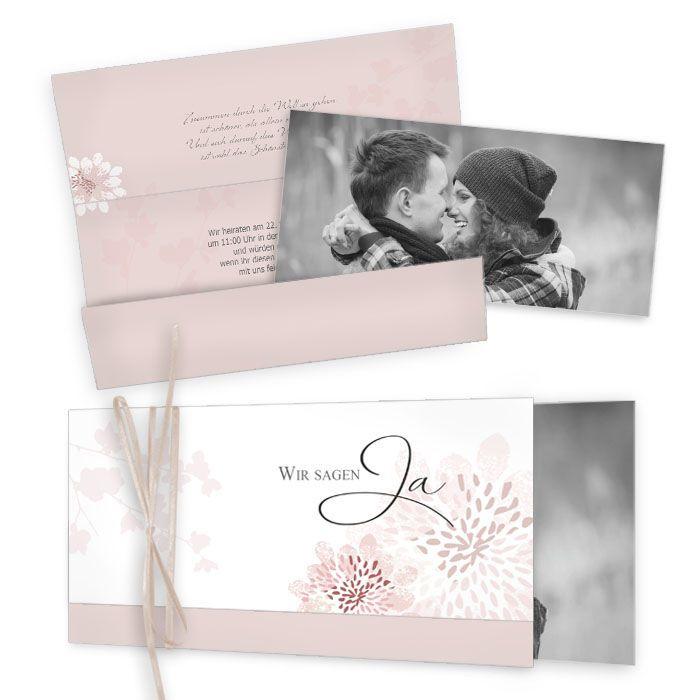 Florale Einladung zur Hochzeit in Rosa mit großem Foto - carinokarten