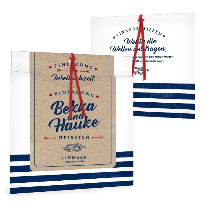 Maritime Einladung zur Hochzeit als Einsteckakrte mit Kraftpapier-Stil und blau weißen Streifen - carinokarten