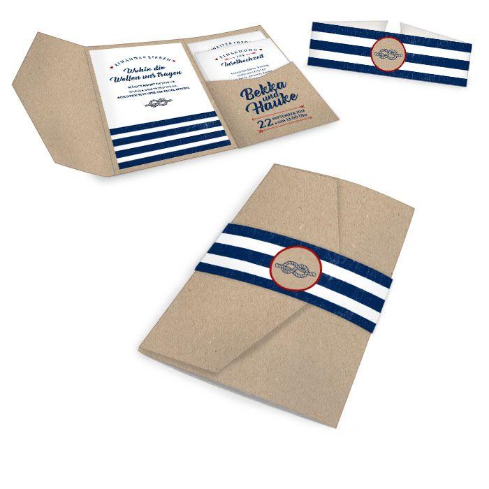 Einladung zur maritimen Hochzeit als Pocket Fold in Kraftpapieroptik aus der Serie Bekka und Hauke von carinokarten