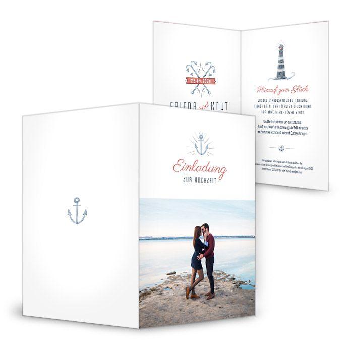Maritime Einladung Zur Hochzeit Mit Leuchtturm Und Anker   Carinokarten