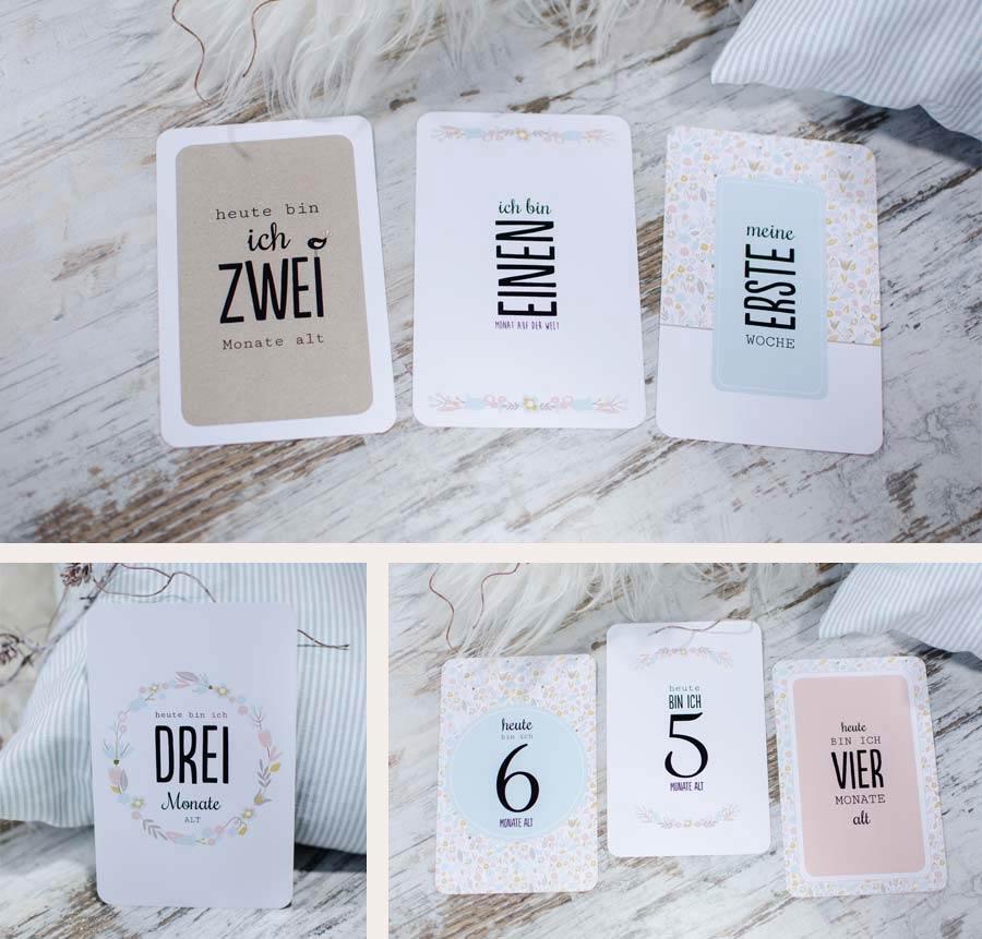 Meilensteinkarten für Babys erstes Jahr mit Pastellblumen Design
