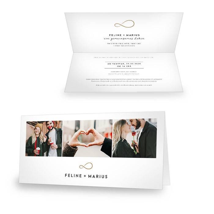 Minimalistische Hochzeitseinladung mit Unendlichkeitszeichen in Gold