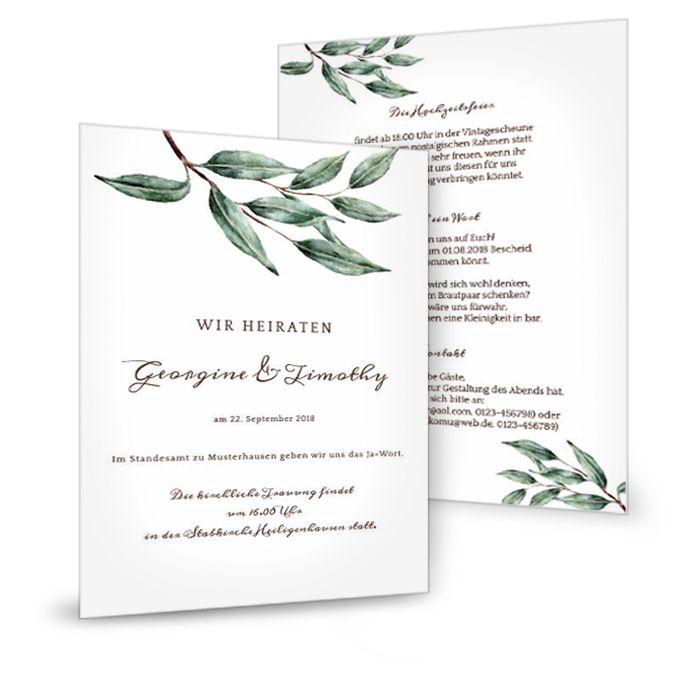 Moderne Einladung zur Hochzeit im Greenery Stil mit Olivenzweigen - carinokarten