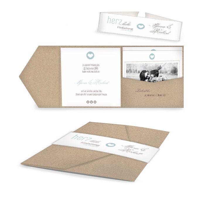 Moderne Einladung zur Hochzeit in Weiß und Minzcreme im Pocket Fold Format in Kraftpapier Optik - carinokarten