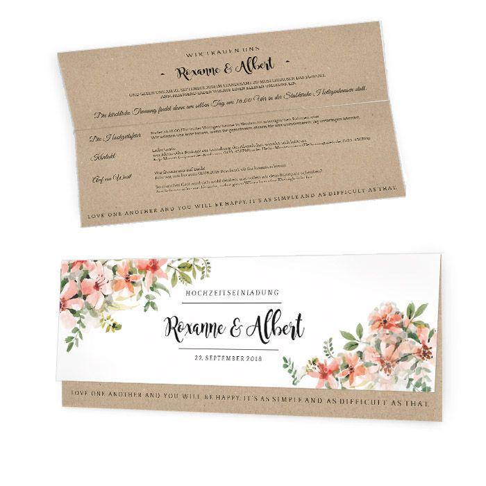 Romantische Einladung zur Hochzeit mit Vintage Kraftpapier-Optik und zarten Blüten - carinokarten