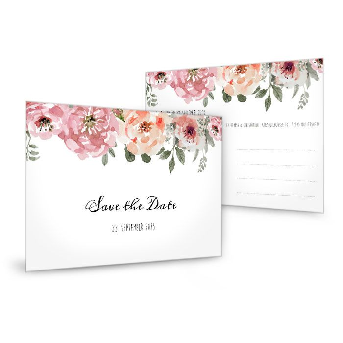Vintage Save the Date Karte zur Hochzeit mit Aquarellblumen Catherina und Christopher