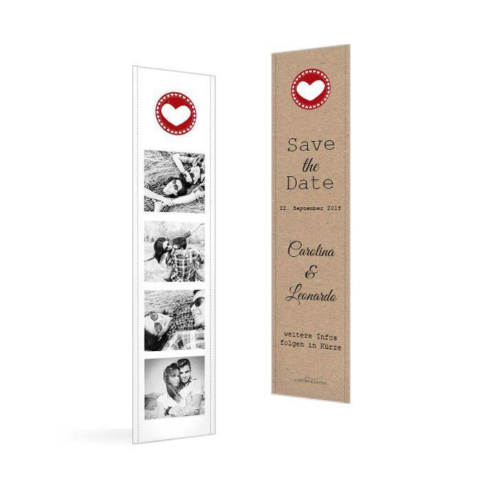 Save the Date Karte zur Hochzeit als Lesezeichen mit vielen Fotos im Polaroidstil und Kraftpapier - carinokarten