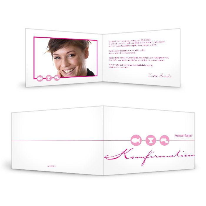Einladungskarte zur Konfirmation Anneli in Pink - carinokarten