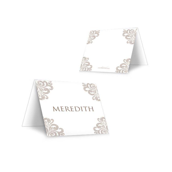 Elegante Tischkarte mit Gästenamen mit barocken Ornamenten - carinokarten