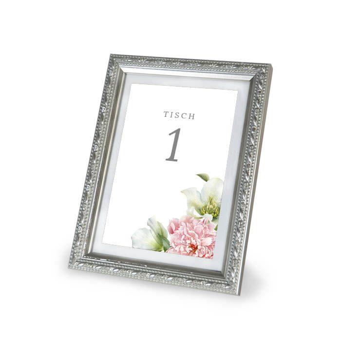 Tischnummern für Gruppentische zur Hochzeit mit floralem Pfingstrosen Design - carinokarten