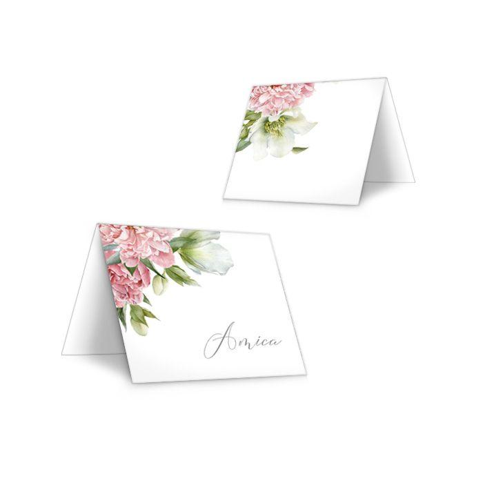 Vintage Tischkarten zur Hochzeit mit Gästenamen und Pfingstrosen Design - carinokarten