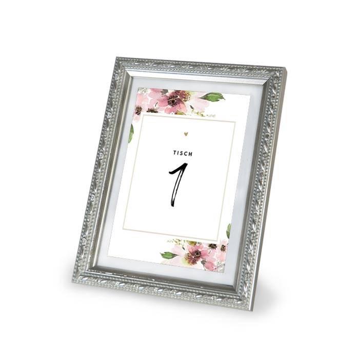 Tischkarte zur Hochzeit für Gruppentische mit Tischnummern und Aquarellblumen - carinokarten