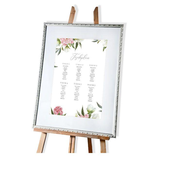 Tischplan für die Sitzordnung zur Hochzeit mit Pfingstrosen Design - carinokarten