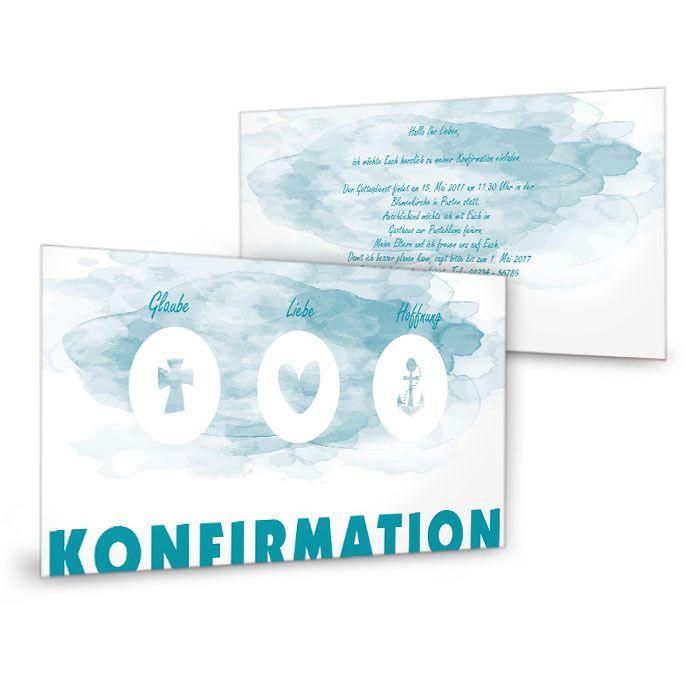 moderne Einladung zur Konfirmation mit Schriftzug  in Wasserfarben Blau - carinokarten