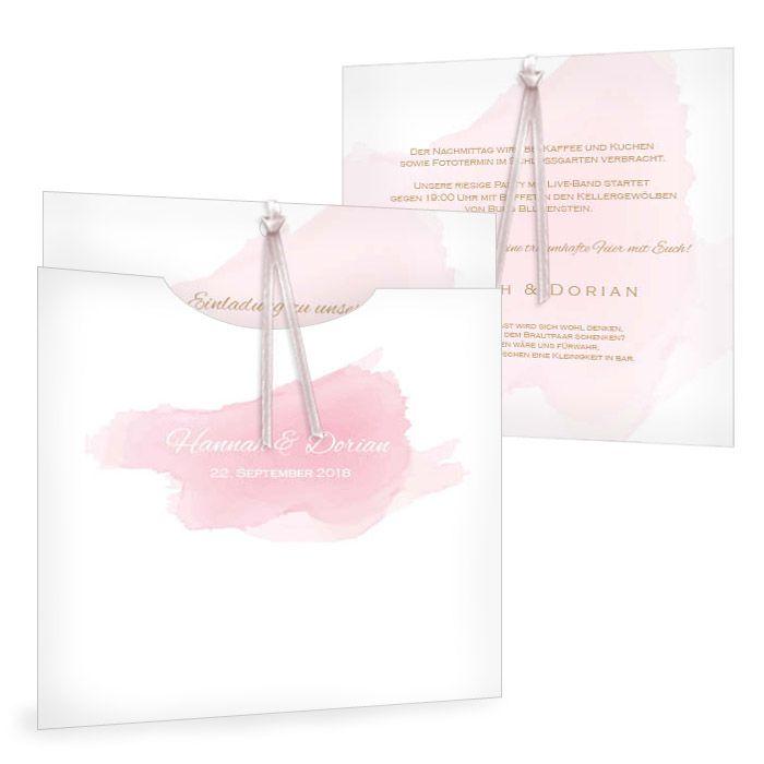 Romantische Einladung zur Hochzeit mit Aquarellstil in Rosa - carinokarten