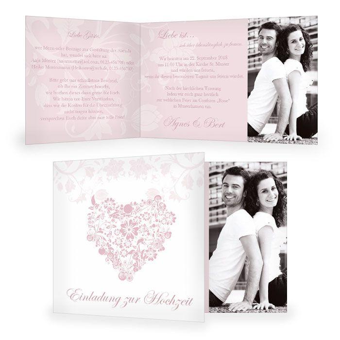 Romantische Einladung zur Hochzeit mit floralem Herz in Rosa und großem Foto - carinokarten