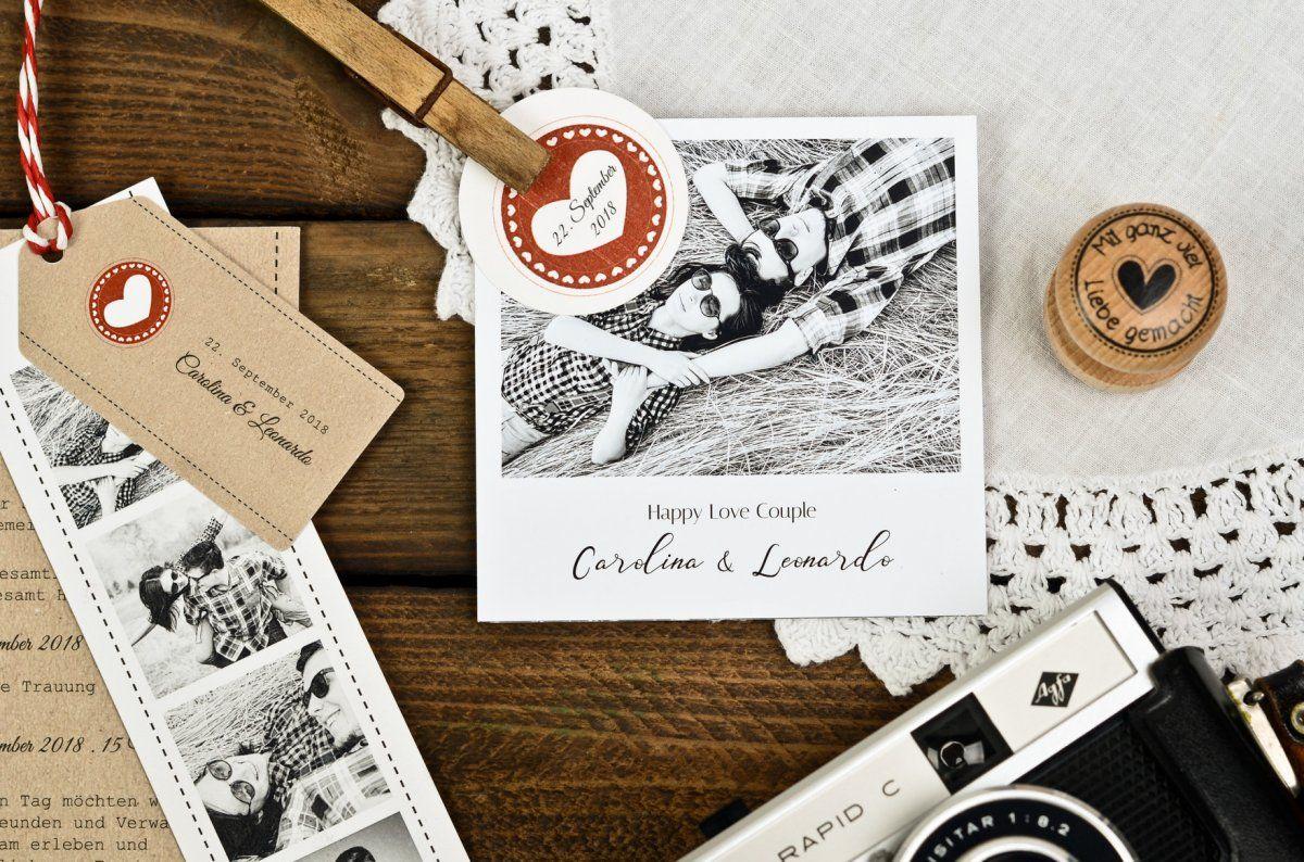 Kraftpapier hochzeitspapeterie im country stil mit rotem - Polaroid karten ...