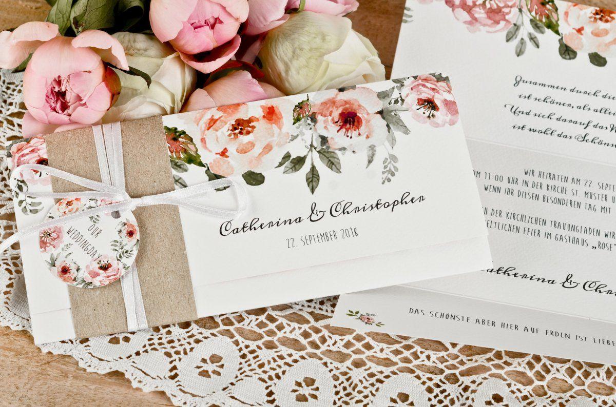 Romantische Vintage Hochzeitseinladung Mit Aquarellbluten Carinokarten