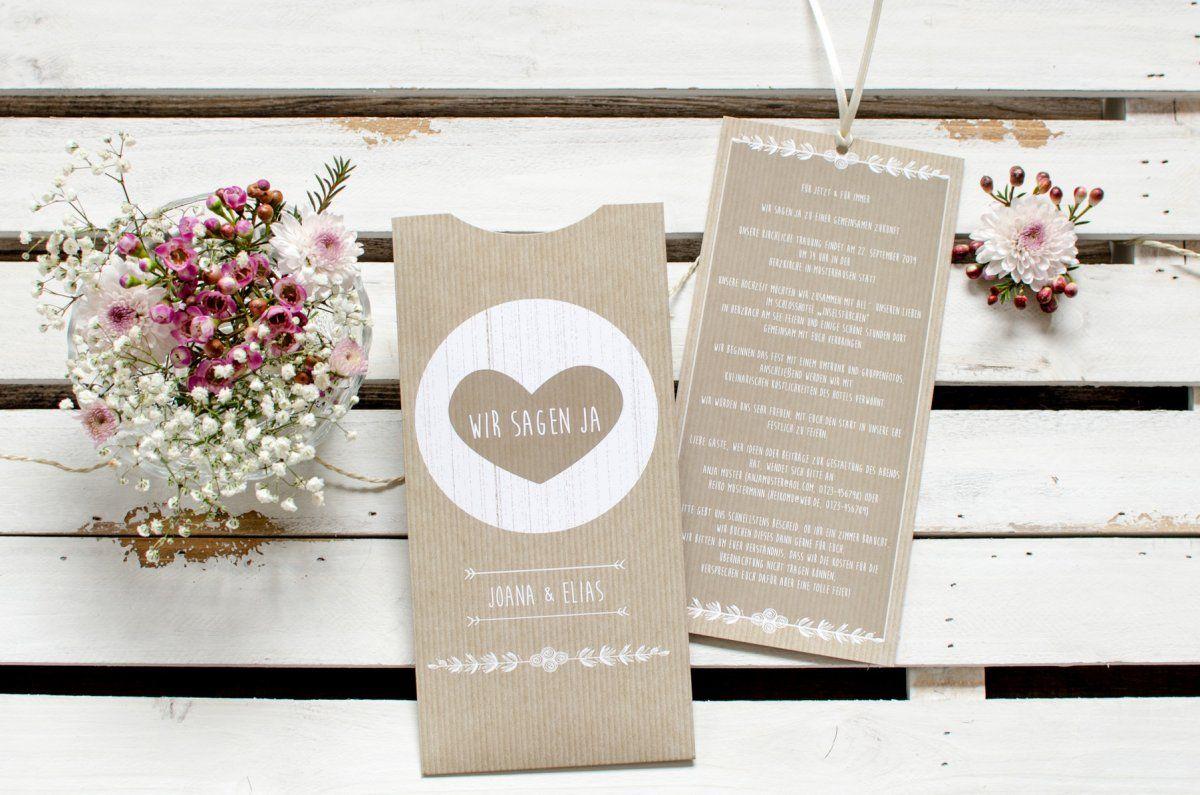 Vintage Hochzeitseinladung Einsteckkarte Im Packpapier Stil