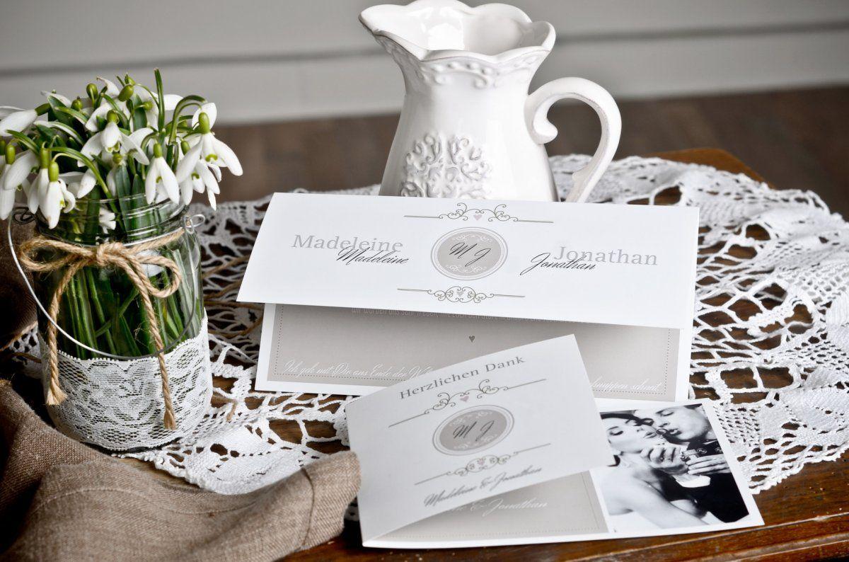 romantische vintage hochzeitspapeterie mit monogramm carinokarten. Black Bedroom Furniture Sets. Home Design Ideas